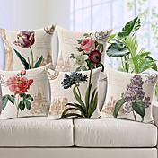 Algodón/Lino Cobertor de Cojín , Floral Campestre