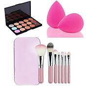 15 colores de la paleta facial contorno corrector en crema + 7pcs cepillos de color rosa caja de maquillaje set Kit + polvo de hojaldre