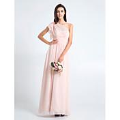 Lanting Bride® Do poda Šifon Haljina za djeverušu - Kroj uz tijelo Na jedno rame Plus veličina / Niska građa s Križano