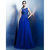 Corte en A Hasta el Suelo Raso Evento Formal Vestido con Apliques por TS Couture®