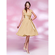 Knee-length Chiffon Bridesmaid Dress - Daffodil / Ruby / Grape / Royal Blue / Champagne Plus Sizes / Petite A-line / Princess V-neck