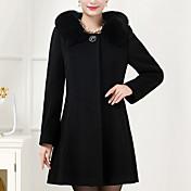 婦人向け 冬 ソリッド コート,プラスサイズ シャツカラー ブルー / ブラック ウール / その他 長袖 厚手