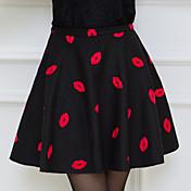 Faldas ( Gasa )- Cosecha / Casual Tiro Medio Sobre la Rodilla para Mujer