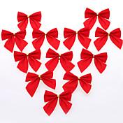 12 piezas de bricolaje decoración del árbol de navidad de regalo arco rojo de la fiesta de Navidad