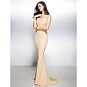 Trompeta / Sirena Cuello en V Larga Encaje Jersey Evento Formal Vestido con Encaje por TS Couture®
