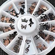 Encantador - Dedo / Dedo del Pie - Calcomanías de Uñas 3D - Metal - 12pcs/set - mix sizes - (cm)