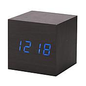 新しいモダンな木製木製デジタルLEDデスク目覚まし時計温度計タイマーカレンダー