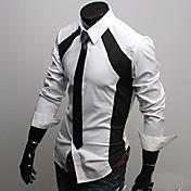 男性用 プレイン カジュアル シャツ,長袖 ポリエステル ブラック / ホワイト