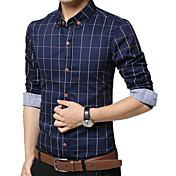 男性用 チェック カジュアル / オフィス / フォーマル / プラスサイズ シャツ,長袖 コットン ブルー / グリーン / レッド / ホワイト / イエロー / グレー