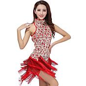 我々はラテンダンスドレスをしなければならない女性のパフォーマンスポリエステルスパンコールのタッセル1着ドレス93