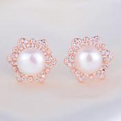 スタッドピアス 高級ジュエリー ファッション 真珠 純銀製 人造真珠 模造ダイヤモンド ジュエリー のために 1個