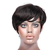 Mujer Pelucas de Cabello Natural Cabello humano Hecho a Máquina 130% 150% Densidad Ondulado Natural Peluca Marrón Oscuro Color natural