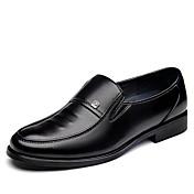 Hombre Zapatos Semicuero Primavera Verano Otoño Invierno Confort Zapatos formales Zapatos de taco bajo y Slip-On Para Casual Negro Marrón