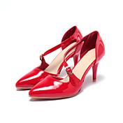 Sandály-Lakovaná kůže-Pohodlné Kotníkový pásek-Dámské-Černá Červená Mandlová-Svatba Kancelář Party-Vysoký