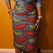 Women's Print Yellow Skirts,Casual / Day Midi