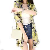 レディース お出かけ 夏 シャツ,キュート ストリートファッション アシメントリー フラワー ポリエステル 七部袖 薄手
