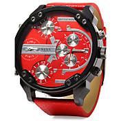Hombre Reloj Militar Cuarzo Calendario Dos Husos Horarios Tres Husos Horarios Piel Banda Cool De Lujo Negro Azul RojoNegro Naranja Rojo