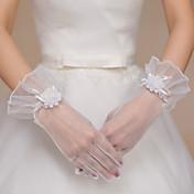 手首丈 指先 グローブ チュール ブライダル手袋 パーティー/イブニング手袋 フラワー
