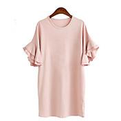 De las mujeres Corte Ancho Vestido Tallas Grandes Simple / Chic de Calle,Un Color Escote Redondo Sobre la rodilla Manga CortaAzul / Rosa