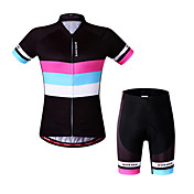 WOSAWE Maillot de Ciclismo con Shorts Mujer Manga Corta Bicicleta Pantalones Cortos Acolchados Camiseta/Maillot Shorts/Malla corta