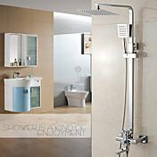 現代風 センターセット レインシャワー / ハンドシャワーは含まれている with  セラミックバルブ シングルハンドル二つの穴 for  クロム , シャワー水栓
