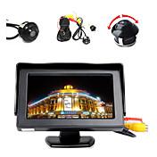 """4.3 """"LCDカラーディスプレイモニター+ 360°フロント/サイド/リアバック駐車のHDカメラ"""