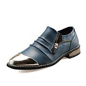 Hombre Zapatos Cuero Verano Otoño Confort Zapatos de taco bajo y Slip-On Punta Metálica Cremallera Para Boda Casual Fiesta y Noche Negro