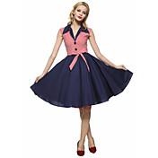 Dámské Vintage Pouzdro / Swing Šaty Proužky Do V Délka ke kolenům Bavlna