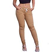Ženy Jednobarevné Roztřepené Legging,Bavlna Spandex Střední