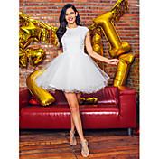 Salón Joya Corta / Mini Tul Fiesta de Cóctel Baile de Promoción Vestido con Cuentas Apliques Encaje por TS Couture®