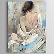 Ručno oslikana Ljudi / MustardModerna Jedna ploha Platno Hang oslikana uljanim bojama For Početna Dekoracija