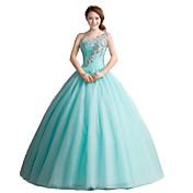 Salón Princesa Un Hombro Hasta el Suelo Tul Evento Formal Vestido con Detalles de Cristal por MMHY