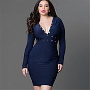 De las mujeres Corte Bodycon / Vaina Vestido Fiesta/Cóctel / Tallas Grandes Sexy / Simple,Un Color Escote en V Profunda Sobre la rodilla