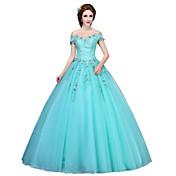 Salón Princesa Hasta el Suelo Tul Evento Formal Vestido con Apliques Detalles de Cristal por MMHY
