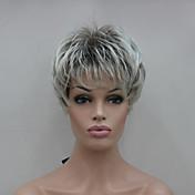 ブラウンミックスショートストレート女性の合成かつらを使用して新しいライトグレー先端