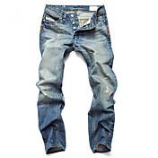 Hombre Sencillo Tiro Medio Vaqueros Pantalones,Corte Recto Corte Ancho Un Color