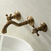 伝統風 壁式 組み合わせ式 with  セラミックバルブ 三つ 二つのハンドル三穴 for  アンティーク真鍮 , バスルームのシンクの蛇口