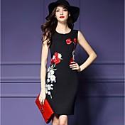 レディース ストリートファッション パーティー シース ドレス,フラワー ラウンドネック 膝上 ノースリーブ ポリエステル 夏 ミッドライズ