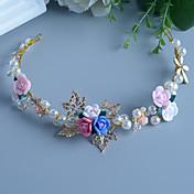 成人用 フラワーガール 真珠 ラインストーン 合金 樹脂 かぶと-結婚式 パーティー ヘッドバンド 1個