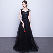 aラインの恋人スイープ/ブラシトレインチュールイブニングドレス(リボン付)