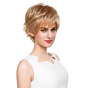 優雅な自然の短い波状キャップレスレミ人間の髪の毛の手は女性のため-topかつらを縛ら