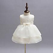 女の赤ちゃんの白いドレス、ポリエステルにすべての季節の弓