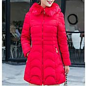 コート ロング ダウン 女性,カジュアル/普段着 ソリッド ポリエステル ポリプロピレン-キュート 長袖 フード付き ブルー / ピンク / レッド / ブラック / グレイ