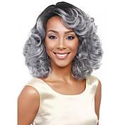 más vendido de Europa y los Estados Unidos de 14 pulgadas peluca gris degradado negro con peluca de mediana edad