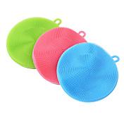 limpieza suave cepillo de utensilios de cocina de silicona antibacteriano plato de esponja de lavado del lavador (color al azar)