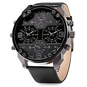 男性 軍用腕時計 2タイムゾーン クォーツ 日本産クォーツ レザー バンド クール ブラック