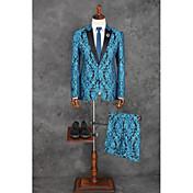 Obleky Na míru Špičaté Jednořadé s jedním knoflíkem Polyester Vzory 2 ks Oceánsky modrá Rovné s klopou Žádný (rovné nohavice) ModráŽádný