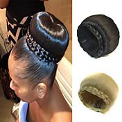 updo boda nupcial del moño del bollo del clip trenzas extensiones de cabello lacio sintéticos