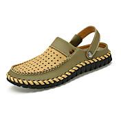 Hombre-Tacón Plano-Confort-Sandalias Zapatillas y flip-flop-Informal-Cuero-Marrón Gris Topo Caqui