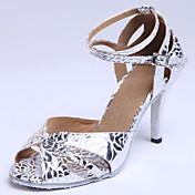 Personalizables Mujer Latino Zapatos Estándar Salón Ante Cuero Semicuero Tacones Altos Sandalias Principiante Interior Hebilla Cordones